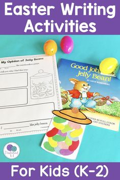 Easter writing prompts are a great way to get kids engaged in writing activities! Students will love this opinion writing activity where they taste jelly beans and give their opinion!  #opinionwriting #easteractivitiesforkids