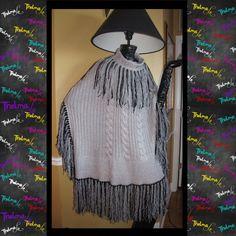 Ultra Metallic Shimmer Fringe Silver & Black Knit by iLoveThelmaLu, $125.00