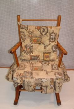 Vintage Childs Wooden Rocking Chair Rocker With Fabric Cushion Have This Different Color