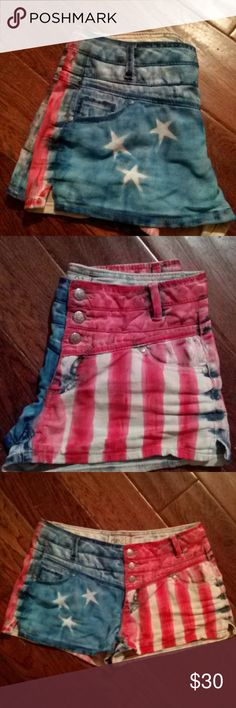 SELF CRAFTSMANSHIP I did these shorts myself. I used acrylics and threw them I the dryer for 30 minutes to set the paint. Size 5/6-rue21. Waist measures 16 across laying flat. 11.5 inches in length. Acrylics are permanent, so it will not wash out. Shorts Jean Shorts