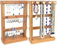 Support de boucle d'oreille - bijoux Stand de support, bois, cerise, plus collier. Peut contenir 30 paires, plus de 4 chevilles, présentoir à bijoux