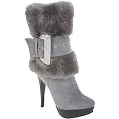 @Overstock - These Nancy li mid-calf platform boots feature a lush faux fur calf belted with an A-class rhinestone encrusted buckle. Soft faux suede graces the foot of these boots, set off by a sexy 4-inch stiletto heel. http://www.overstock.com/Clothing-Shoes/Nancy-Li-Womens-Faux-Fur-Grey-Mid-Calf-Boots/6457872/product.html?CID=214117 $75.99