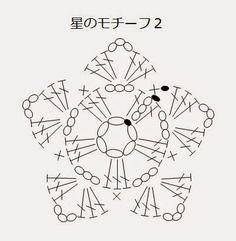 かぎ編み教室 クロッシェ・ジャパン Crochet Japan ブログ: 星のモチーフの編み図です。かぎ編み教室 クロッシェ・ジャパン