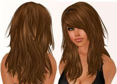 Long hair with short layers in back. Long hair with bangs.