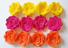 Trendy Felt Flower Rose Bright Sunshine Flower Collection Set of 12 Orange Yellow & Fuchsia on Etsy, $5.99