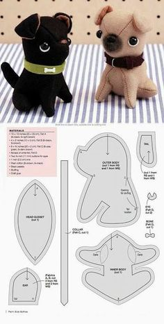 sewing toys Olga and Piedro … - Feeling blue? Olga and Pedro will fix that. These pint-sized pugs will cheer you right up, so take them wherever you go! Plushie Patterns, Animal Sewing Patterns, Sewing Patterns Free, Free Sewing, Doll Patterns, Softie Pattern, Sewing Ideas, Cute Sewing Projects, Sewing Stuffed Animals