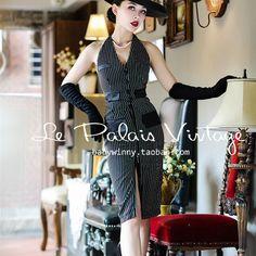 ac67beb171f le palais vintage women stripe Le Smoking halter wiggle pencil dress plus  size vestidos pin up elegant party dresses