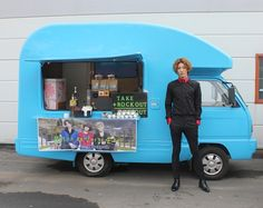 No Minwoo's mobile espresso and snack cart, Japan. You can't miss this baby blue coffee truck!