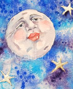 Moon Painting Full Moon Art - Blank Greeting Card Celestial Stars Face Blue Kissable Lips via Etsy