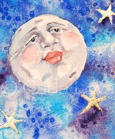 Moon art  Full moon man in the moon  blank greeting by CarlaLovato,  #teampinterest
