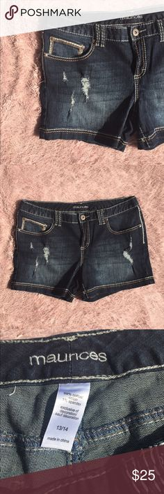 Maurices Dark-Wash Denim Shorts Cute and comfy denim shorts from Maurices! These have been worn only to try on and are in great condition. They have a decent amount of stretch. Size 13/14 Maurices Shorts Jean Shorts