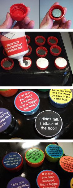What do you do with bottle tops? Make them into fridge magnets of course! A useful upcycling project for kids and adults.