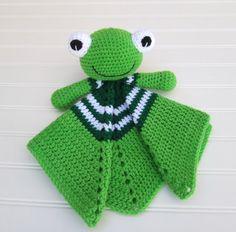 Spring Green Frog Lovey Security Blanket by SugarandSpiceKate