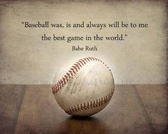 """Baseball Art:  Vintage Baseball Photo Print Featuring a Babe Ruth Quote - Pick Your Size - """"Never let the fear of..."""" Boys room decor on Etsy, $19.00"""