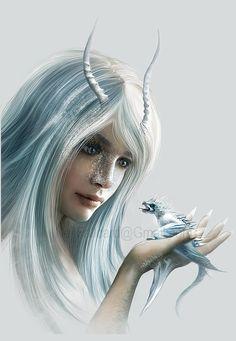 Winter dragon girl with dragon baby