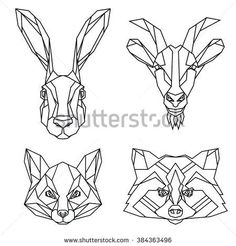 Geometric set of hare, goat, fox and raccoon vector animal heads drawn in line or triangle style, suitable for modern tattoo templates, icons or logo elements: compre este vector en Shutterstock y encuentre otras imágenes. Geometric Fox, Geometric Lines, Wolf Tattoos, Animal Tattoos, One Line Animals, Doodle Drawing, Tattoo Templates, Drawing Clipart, Tattoo Flash