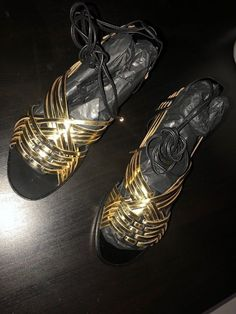 374e9461bd85b3 Balmain Black   Gold Women s Leather Flat Sandals Sur 37  US 7  fashion