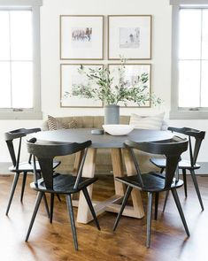 Newest Farmhouse Dining Room Design Ideas - Page 44 of 48 - Aidah Decor Dining Nook, Dining Room Walls, Dining Room Design, Dining Room Furniture, Dining Room Picture Wall, Wall Paper Dining Room, Fireplace In Dining Room, Bench Dining Room Table, Kitchen Table Chairs