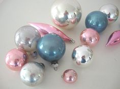 Wedding color inspiration??.....VINTAGE PINK ORNAMENTS  Blue  Pastel  Mercury by IWANTVINTAGE, $20.00
