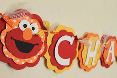 Birthday Banner Elmo Birthday, Boy Birthday Parties, Birthday Ideas, Sesame Street Party, Sesame Street Birthday, Little Man Birthday, Elmo Party, Party Decoration, Name Banners