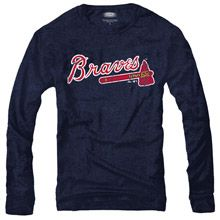 Brandon Medium Atlanta Braves Triblend Long Sleeve Logo T-Shirt by Majestic Threads