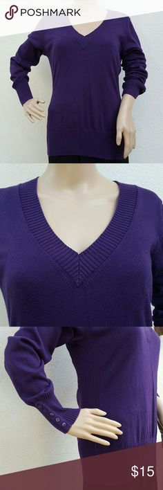 Apt 9 Purple Long Sleeve Sweater Purple long sleeve sweater made by Apt 9. Top has a v-neck for neckline and has 5 decorative buttons on sides of sleeve. In excellent condition and only worn twice. No rips or signs of wear and tear.   Comes from a smoke-free home. Apt. 9 Sweaters