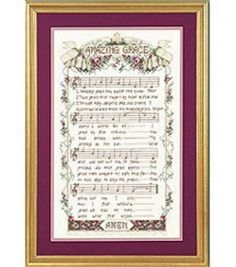 12inches x 20inches  Stoney Creek Collection captures the elegance of this beautiful old time Hymn, Amazing Grace. An heirloom piece that brings back fond memories. Kit includes 14 count aida, 100% co