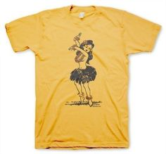 Hula Girl Men's Funny Vintage Inspired Retro Yellow T-shirt in S, M, L, XL