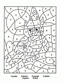 Color by Number Owl coloring page for kids, education coloring pages printables free - Wuppsy.com