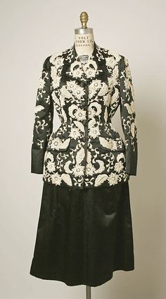 Suit, Evening. House of Balenciaga  (French, founded 1937). Designer: Cristobal Balenciaga (Spanish, 1895–1972). Date: ca. 1949. Culture: French. Medium: silk. Dimensions: Length at CB (a): 28 7/8 in. (73.3 cm). Length at CB (b): 29 3/8 in. (74.6 cm).