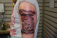 Arabic Tattoo Quotes On Sleeve, arabic tattoo, love in arabic tattoo Arabic Writing Tattoo, Arabic Tattoo Design, Arabic Tattoo Quotes, Writing Tattoos, Tattoo Fonts, Photomontage, Scroll Tattoos, Ancient Tattoo, Native American Tattoos