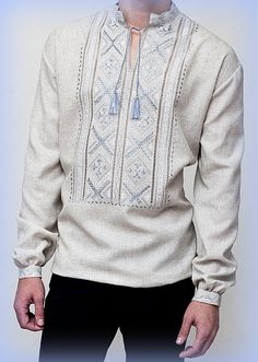 "NEW HANDMADE EMBROIDERED hemstitch, UKRAINIAN MEN'S Homespun Cloth PEASANT SHIRT ""VYSHYVANKA"" size XS, M, L, XL, 2XL, 3XL Please email me before purchase for availability size. If the required size is available, I send parcel within 2 days following payment. In the absence of size, time of making shirt is 2 weeks. Item location - Ukraine Delivery to U.S. and Canada - 3 weeks, to Europe - 10-14 days Vyshyvanka (Ukrainian: Вишива́нка /ʋɪʃɪ'ʋanka/) is the Ukrainian traditional clothing which…"