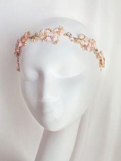 Bouquet Floral Headband Mariage teintes de roses par LysaCreation, $345.00