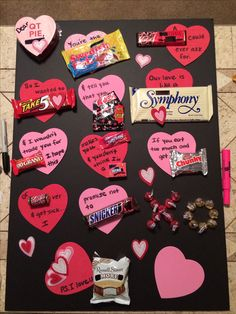 DIY candy bar valentine's day card gift for him  *use the last blank heart for something naughty.. Example: now let's get kinky! (And a mini bottle of kinky liquor)