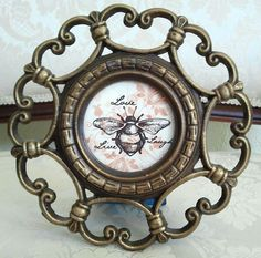 Round Antique Gold Frame with Bee Art Live Love by SherrillsCloset, $12.00
