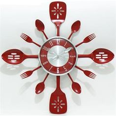kitchen red utensils stainless steel wall clock. Wall Decor $49.99