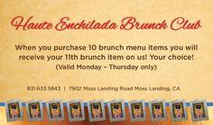 Brunch Club Brunch Items, Brunch Menu, Moss Landing, Menu Items, Enchiladas, Club, Brunch