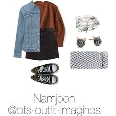 Skating with Namjoon by bts-outfit-imagines on Polyvore featuring Uniqlo, Levi's, Free People, Converse, Alex and Ani and Karl Lagerfeld