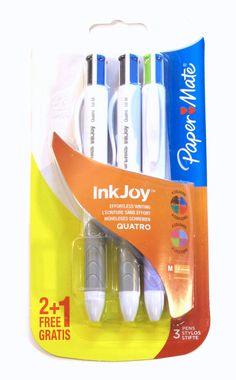 Papermate Inkjoy Quatro Multi Colored Ballpoint Pens Pack of 3