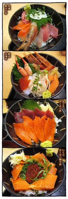 A variety of Japanese seafood bowls, kaisendon (sashimi over rice) 海鮮丼