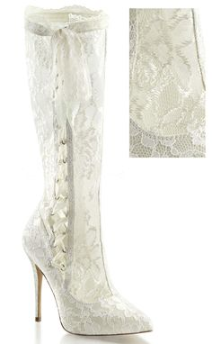 The Violet Vixen - Powdered Sugar Lace  - White Boots , $103.00 (http://thevioletvixen.com/shoes/powdered-sugar-lace-white-boots/)