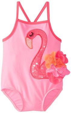 Mud Pie Baby-Girls Newborn Flamingo Swimsuit, Pink, 6-9 Months