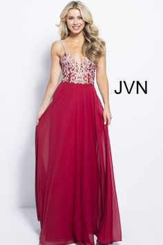 JVN by Jovani JVN60206 Chiffon Spaghetti Strap Column Gown 21f6c4f3b