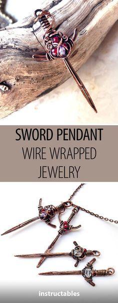 Sword Pendant Wire Wrapped Jewelry #jewelry #pendant