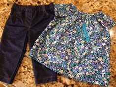 Monogrammed baby blouse with skinny jeans for gift!