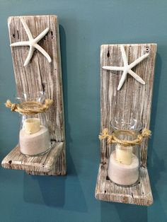 Set of 2 Reclaimed Wood Sconces with Starfish-Wall Decor-Cottage Chic-Home Decor-One of a Kind-Nautical Sconces-Distressed Sconces
