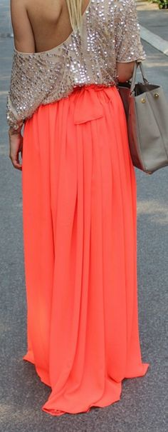 Coral & nude sequins