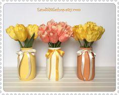 Spring Mason Jars-Set of 3 Shabby Chic Mason Jars-Home Decor-Wedding Centerpieces-Spring Decor-Vintage Decor-Easter Decor-Orange-Yellow by EandSlittleShop on Etsy