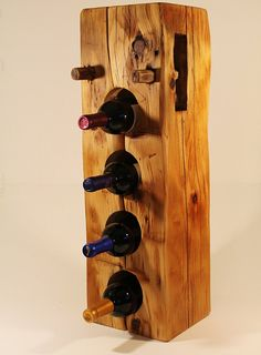 Wine rack made from reclaimed wood beam of 200 year by FeenAndNeen, $230.00