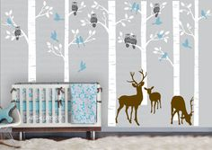 SIX trees WOODLAND Forest Tree 101 inches with Birds, Owls and Deers - Nursery - Bedroom